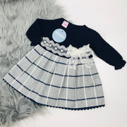 Navy Half Knit Tartan Dress