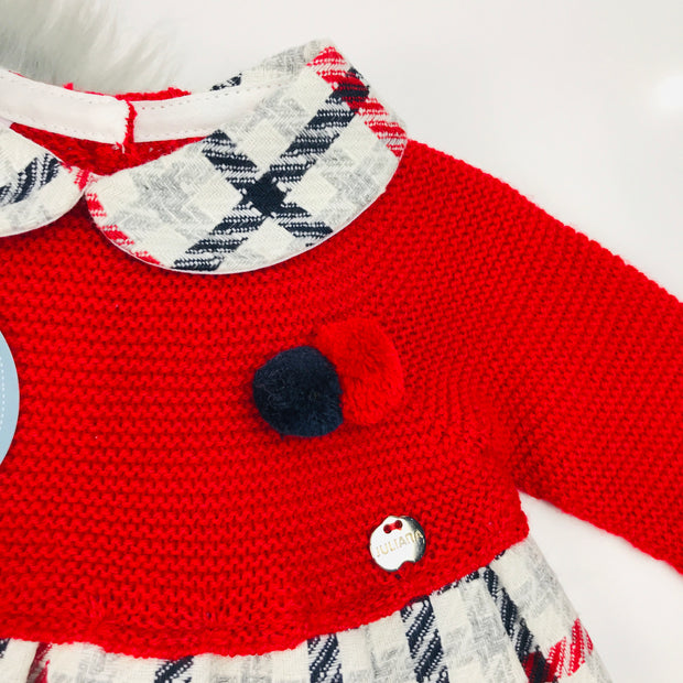 Red Half Knitted Tartan Dress Collar