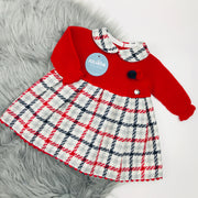 Red Half Knitted Tartan Dress