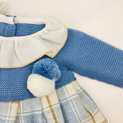 French Blue Half Knitted Dress Hem
