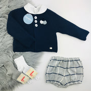 Navy Blue & Grey Tartan Knitted Jam Pant Set