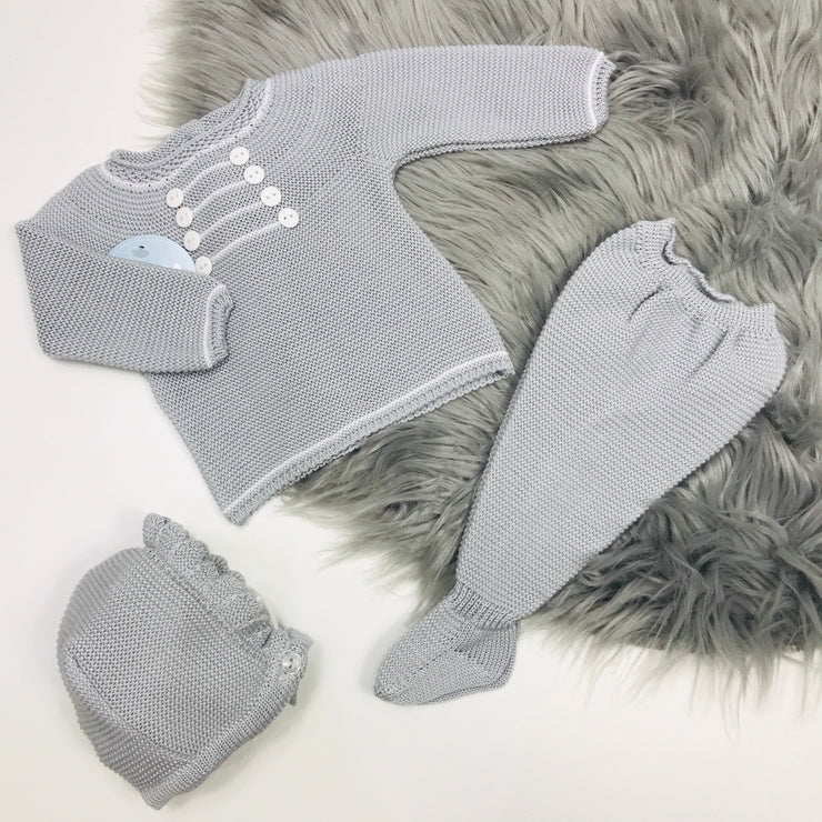 Pearl Grey Three Piece Spanish Knitted Set