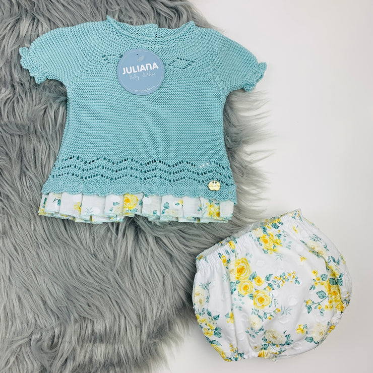 Water Green Knitted Jam Pants Set
