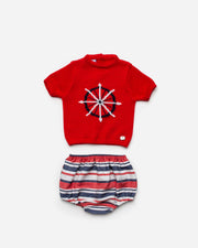 Red Knitted Jam Pants Set