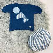 Night Blue Knitted Jam Pants Set