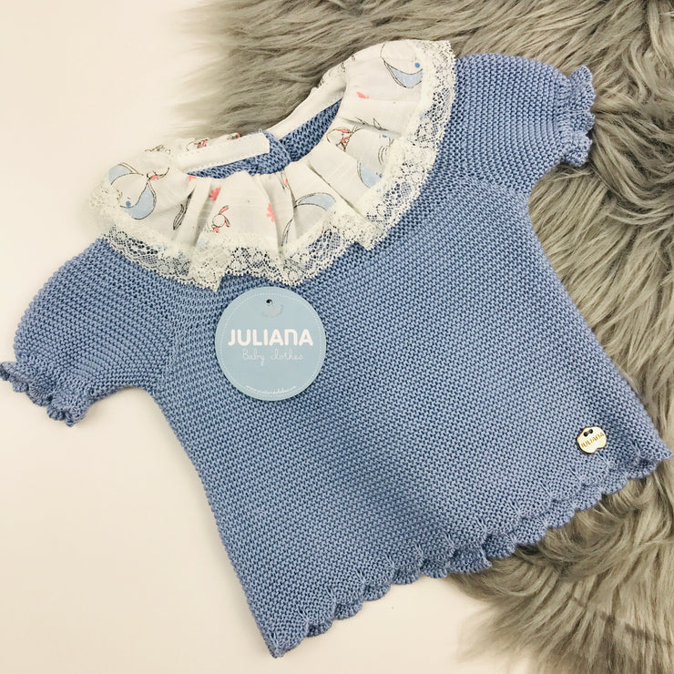 Dusky Blue Knitted Elephant Top
