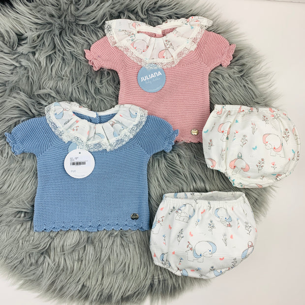 Dusky Blue & Pink Knitted Elephant Jam Pants Set