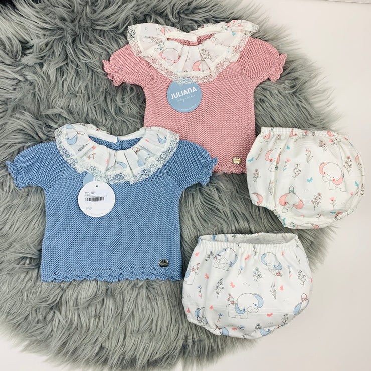 Dusky Pink & Dusky Blue Knitted Elephant Jam Pants Set
