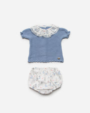 Dusky Blue Knitted Elephant Jam Pants Set