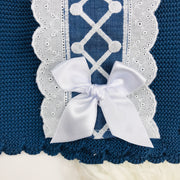 Night Blue Knitted Top Close Bow