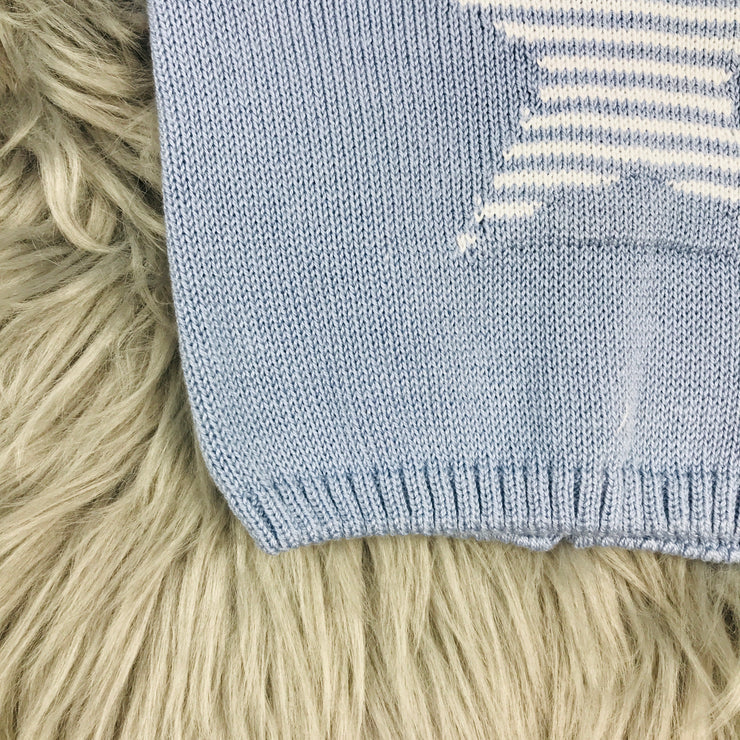 Dusky Blue & White Knitted Top Hem