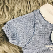 Dusky Blue & White Knitted Sleeve Close