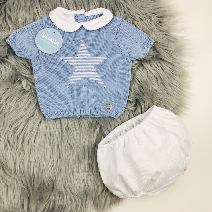 Dusky Blue & White Knitted Jam Pants Set
