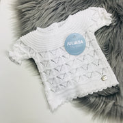 White Knitted Jam Pants Set