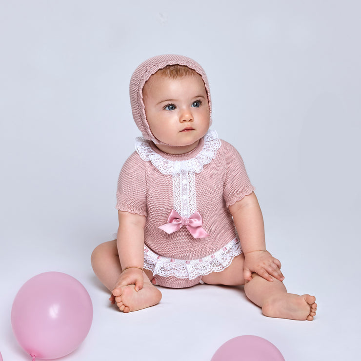 Dusky Pink Knitted Jam Pant Set