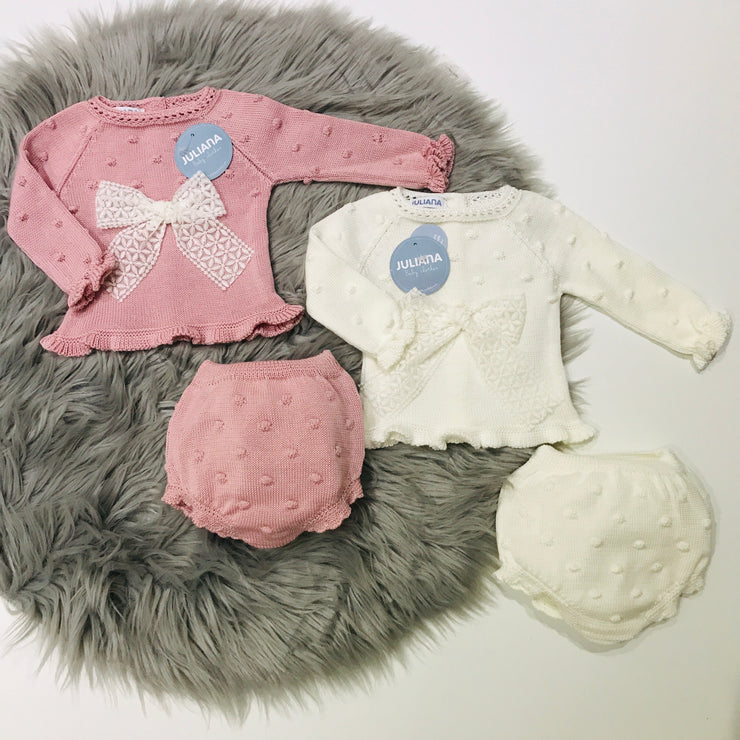 Cream & Dusky Pink Knitted Jam Pant Set
