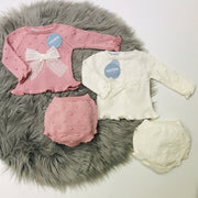 Dusky Pink & Cream Knitted Jam Pant Set