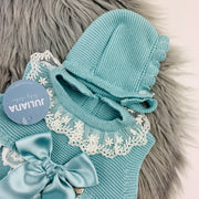 Water Green Lace Knitted Romper Bonnet Close