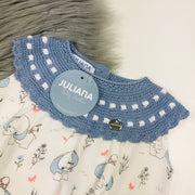 Dusky Blue & Cream Knitted Elephant Romper Collar