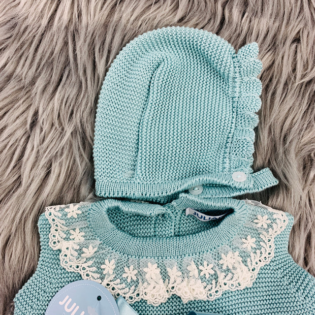 Water Green Lace Knitted Bonnet