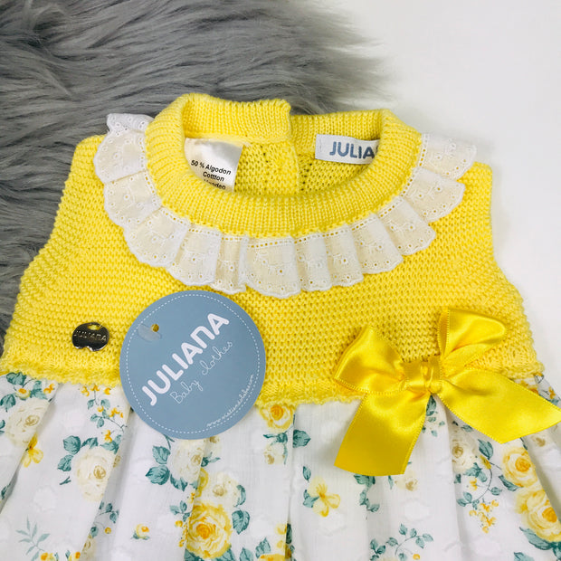 Yellow Floral Knitted Dress