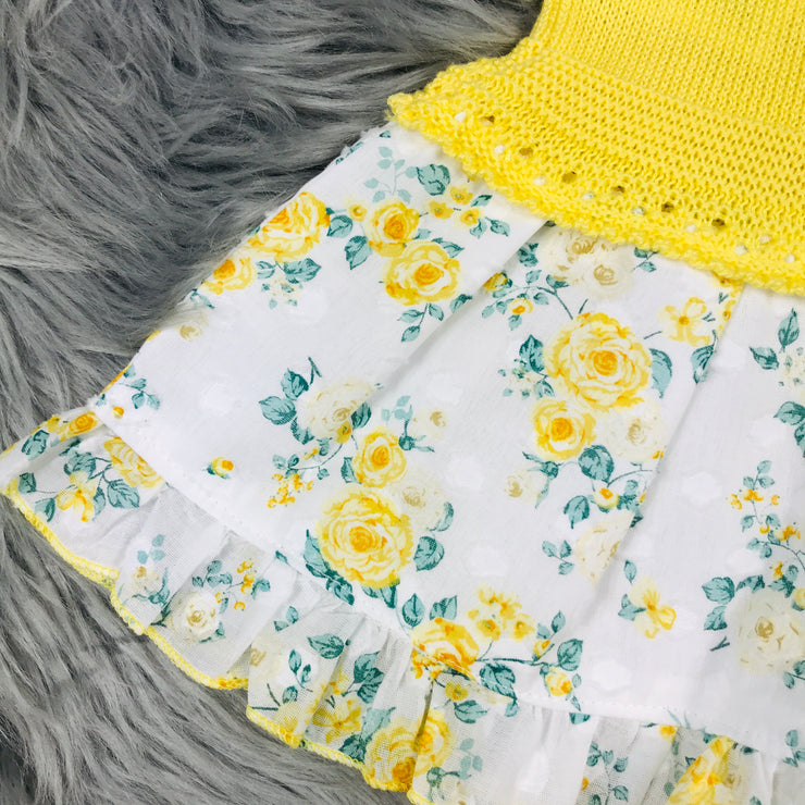 Yellow Floral Knitted Drop Waist Dress