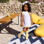 White & Yellow Broderie Dress