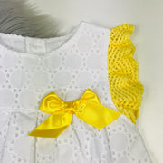 White & Yellow Broderie Dress Close