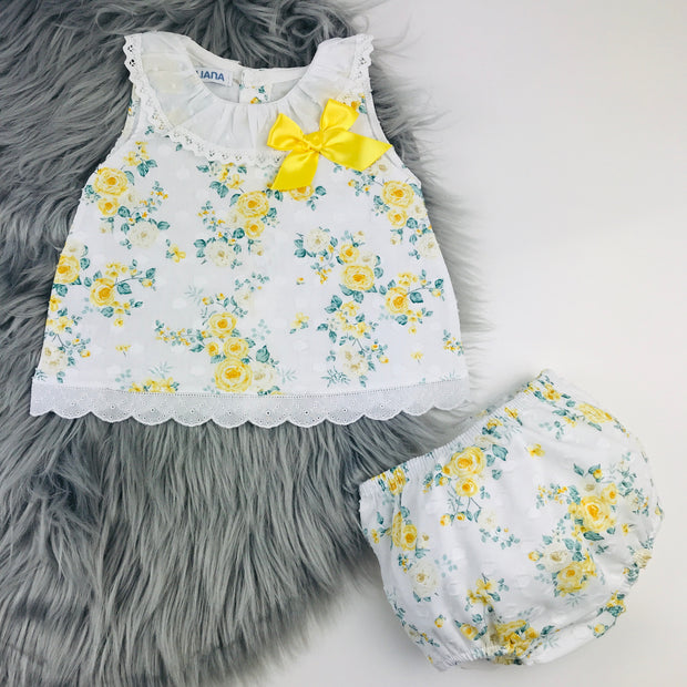 Yellow Floral Jam Pants Set
