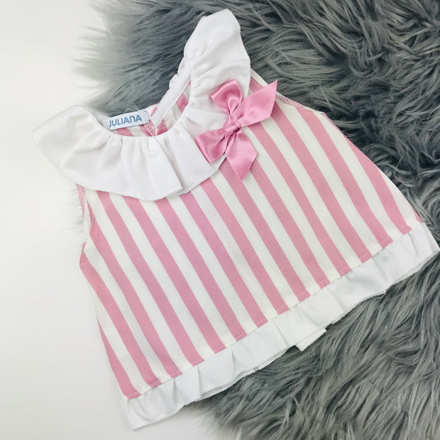 Stunning Baby Girls Spanish Style Dusky Pink Frilly Bow Romper /& Blouse