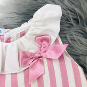 Dusky Pink Candy Stripe Collar Close