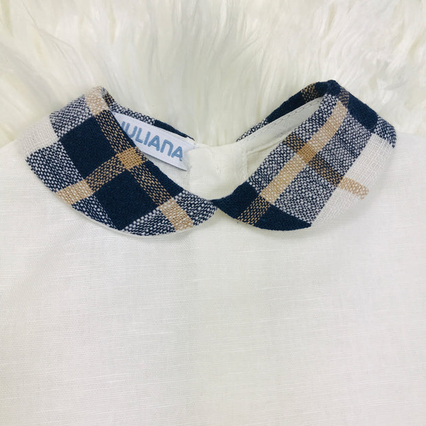 Navy & Cream Shirt Close Collar