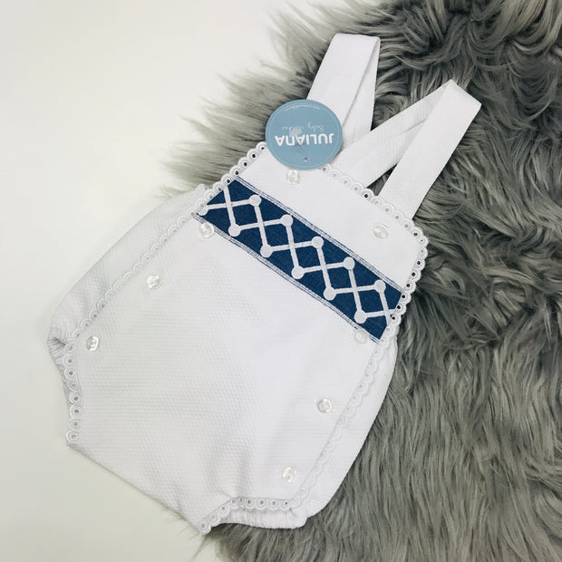 White & Night Blue Dungeree Romper