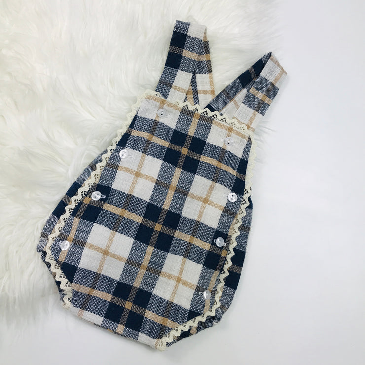 Navy & Cream Dungaree Romper