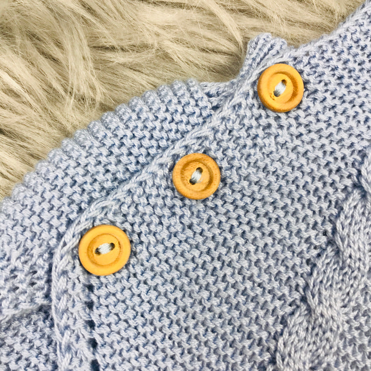 Dusky Blue Knitted dungeree Romper Close