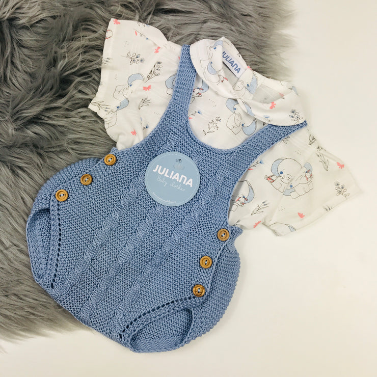Dusky Blue Knitted dungeree Romper & Elephant Shirt