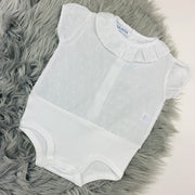 White Dobbie Cotton Ruffle Blouse & Jam Pants Set