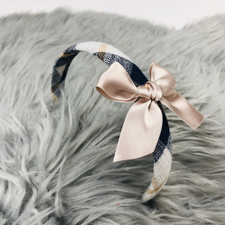 Navy & Cream Tartan Headband