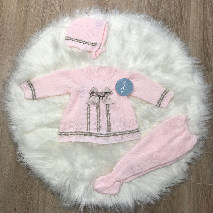Pink & Beige Knitted Three Piece Set