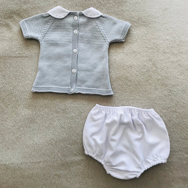 Grey & White Knitted Jam Pants Set