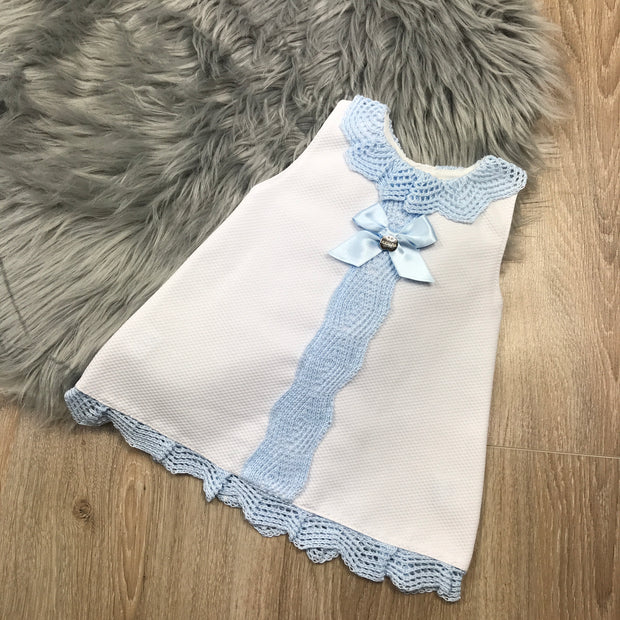 White & Blue Sleeveless A-Line Spanish Dress