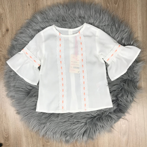 Peach & Cream Spanish Blouse & Shorts Set