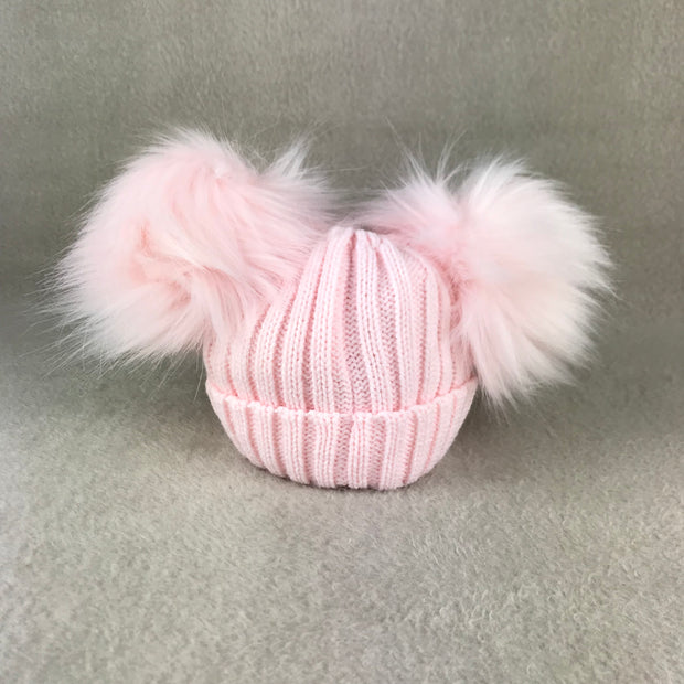 Pink Ribbed Double Faux Fur Pom Pom Hat
