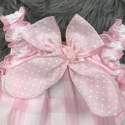 Pink & White Gingham Romper Bow
