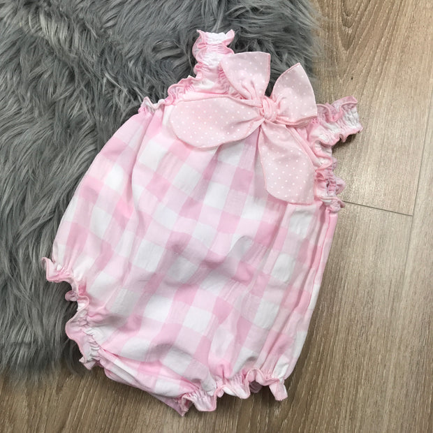 Pink & White Gingham Romper Back