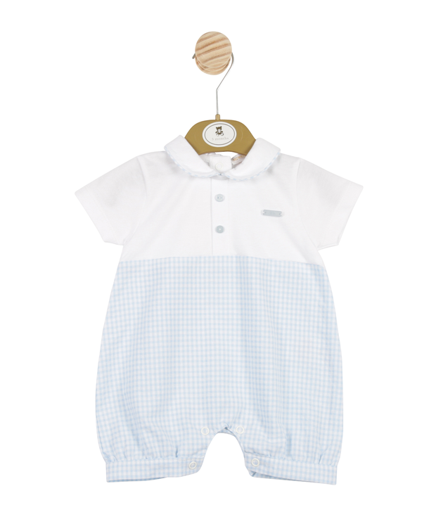 White & Blue Checked Romper By Mintini