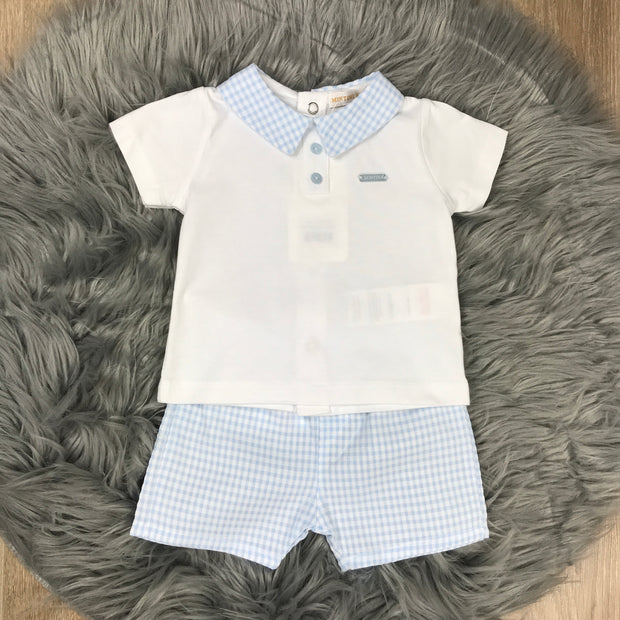 Boys White T-Shirt & Blue Check Shorts Set