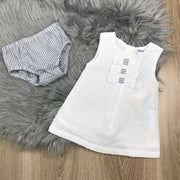 White Dress & Grey Jam Pants