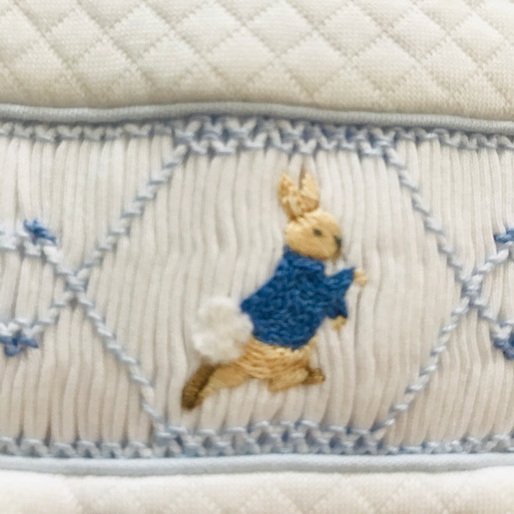 Single Peter Rabbit Smocked Quilted Footsie Close