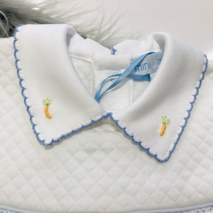 Single Peter Rabbit Smocked Quilted Footsie Collar